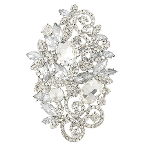 EVER FAITH Women's Austrian Crystal Wedding Elegant Floral Leaf Vine Brooch Pendant Clear Silver-Tone (Leaf Floral Pin)
