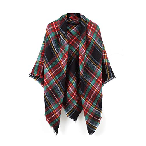 (Women's Cozy Tartan Blanket Scarf Wrap Shawl Neck Stole Warm Plaid Checked Pashmina (Black Red Green))