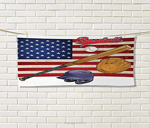 Anniutwo Sports,Hair Towel,USA American Flag and Baseball Eq