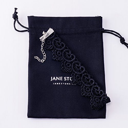 Jane Stone Collier Tatouage Ras du Cou Gothique Lace Dentelle Fleur Coeur Noir Vintage Femme Bijoux Tendance