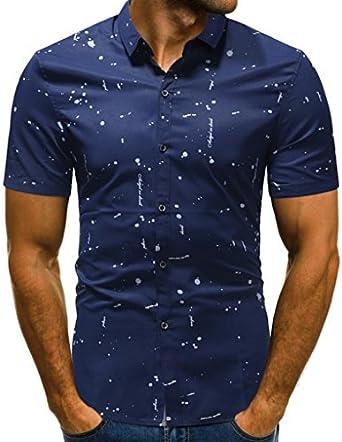 OHQ Camisa para Hombre Camiseta De Degradado para Hombre Arriba Camiseta Manga Corta Camiseta Blusa Tops Casual Chaleco Transpirable CóModo (XL, Azul#3): Amazon.es: Ropa y accesorios