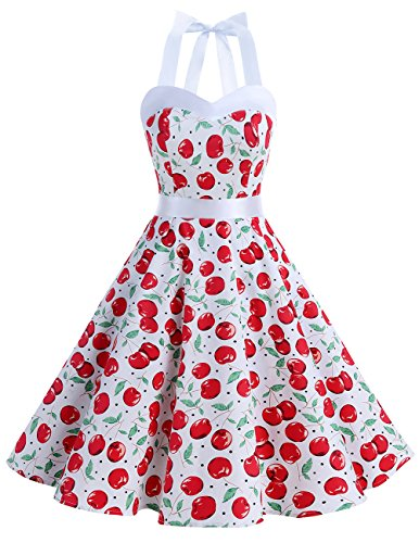 DRESSTELLS Vintage 1950s Rockabilly Polka Dots Audrey Dress Retro Cocktail Dress White Big Cherry - Dots Polka Retro