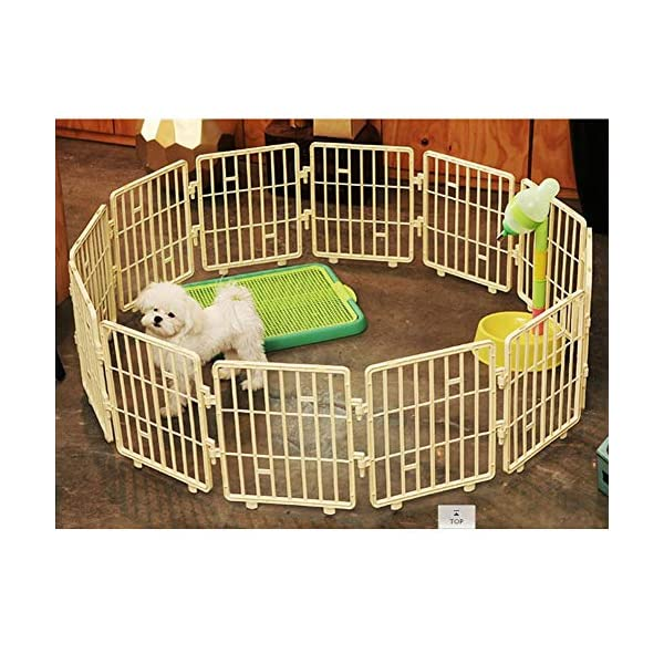 Purmipet Dog Magic Fence Plastic Indoor Outdoor Fences Kennel Cage Play Pen with 12 Pieces Ivory Color Click on image for further info. 3