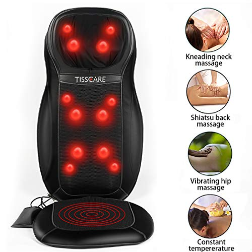 Back Massager for Chair, Shiatsu Neck & Back Massage Pad with Heat [Upgraded 12 Deep Kneading Nodes] for Relieve and Relax Muscle Pain Home Car Office Use ()