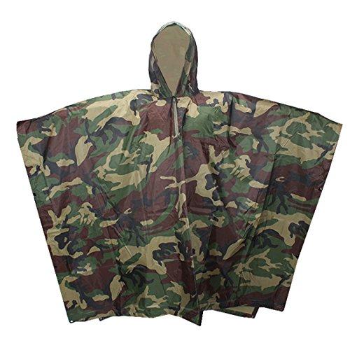 Krayney Outdoor Waterproof Raincoat Military Camouflage Poncho Multifunctional Rain Cape for Hunting Hiking Climbing (Green Camo)