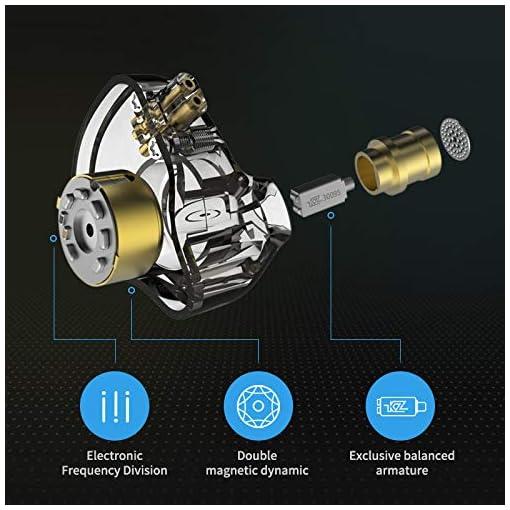 Linsoul KZ ZSN Pro Dual Driver 1BA+1DD Hybrid Metal Earphones HiFi in-ear monitor con cavo staccabile a 2 pin, pannello in lega di zinco