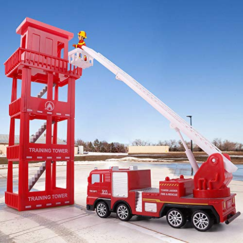 iPlay, iLearn Kids Fire Truck Toys Play Set, Emergency Rescue Firetrucks Vehicles Set W/ Station, Firefighter Toy Crane Truck, Fire Engine, Birthday Gifts for 3 4 5 6 Year Old Boys Toddlers Childrens