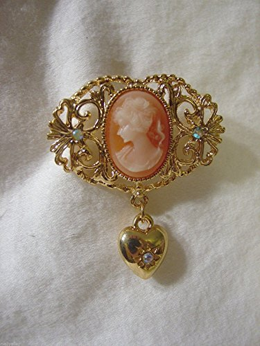 White Face Cameo Orange Oval Dangle Heart PIN Brooch Scarf Clips Corsage Jewelry for Woman Goldtone Metal
