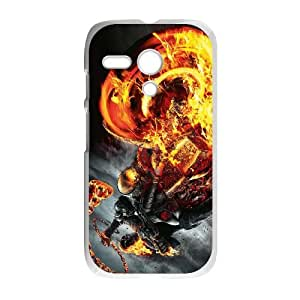 Motorola G Cell Phone Case White Motorcycle with Flames 002 YD562135