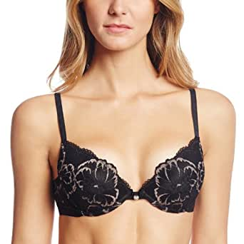 Emporio Armani Women's Floral Lace with Grosgrain Detail Ultra Push Up Bra, Black, 30A