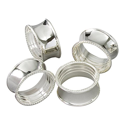 Elegance Beaded Round Napkin Rings, Silver-Plated, Set of 4 (Ring Napkin)