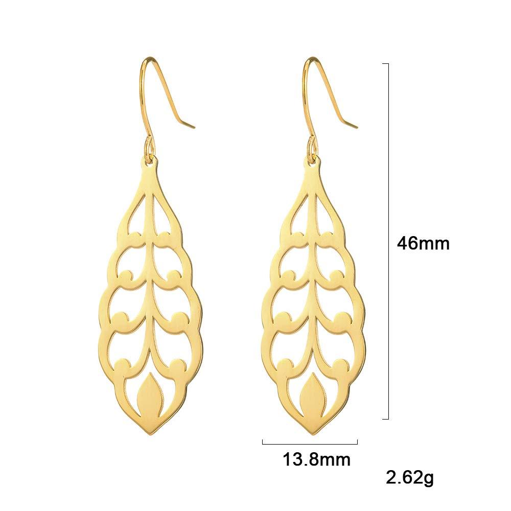 fishhook Filigree Earrings Delicate Leaf Flower Earrings Stainless Steel Dangle Drop Earrings for Women Mom Girls Sister Grandma Aunt Best Friend