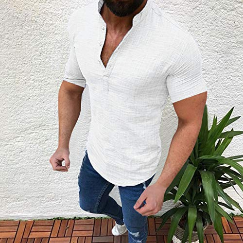 YKARITIANNA Men's Casual Blouse Cotton Linen T-Shirt Loose Tops Short Sleeve Tee Shirt 2019 Summer White