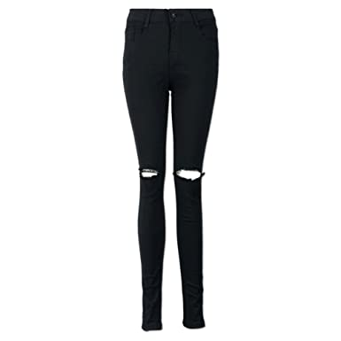 d26f3c676820 Women Pants Jeans, LILICAT Ladies Girls Fashion High Waist Slim Pencil Trousers  Cool Ripped Knee Cut Skinny Long Jeans Black Hole Pants Spring Autumn Summer