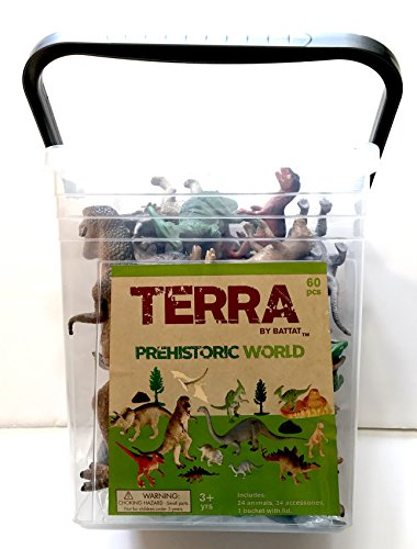 Terra Prehistoric World Dinosaur Playset in a Reusable Bucket with Lid and Handle complete with 24 realistic, detailed Dinosaurs and 34 accessories