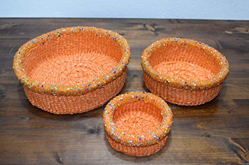 Set of Three African Baskets with Beads - 3'' Height x 8.5'' Wide - Handcrafted in Kenya - Carrot/Light Orange, KK25 ()