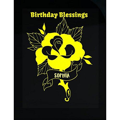 (Klarkite Industries Sophia Birthday Blessing Yellow Celebration Greeting - Transparent Sticker)