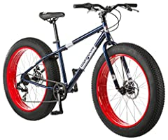 Mongoose dolomite fat tire mountain bike, featuring 17 inch/medium high tensile steel frame, 7 speed Shimano drive train, mechanical disc brakes, and 26 inch wheels, navy blue