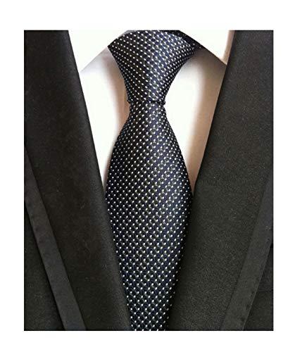 Men's Black Navy Blue Patterned Silk Ties Classic Ribbed Designer Luxury Necktie (Tie Patterned Black)