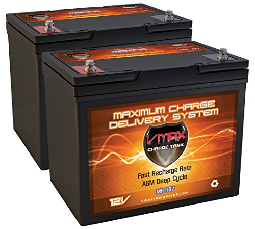 Qty2 vmax mr107 85 12v 85ah agm deep cycle group 24 for Longest lasting trolling motor battery