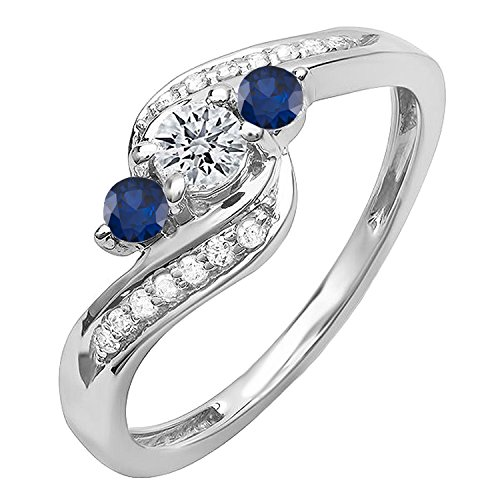 Dazzlingrock Collection 18K Round Blue Sapphire And White Diamond Swirl Engagement 3 Stone Bridal Ring, White Gold, Size 8