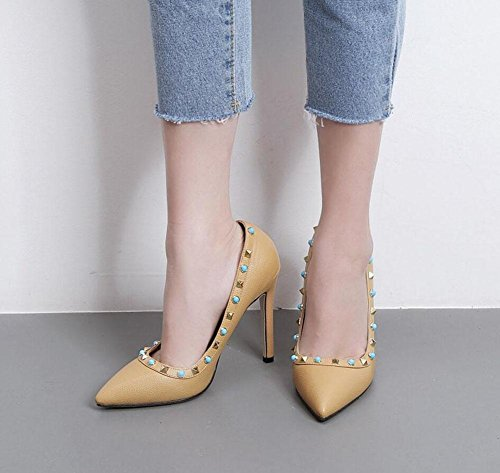 Court Pumps Women Shoes Apricot Gem Seasons Shoes Thin Sandals Heels Cone Four Heel Color Charming Rivets GLTER Strap apricot Shallow Tip High Black Mouth Pumps Ladies Ankle BHqwndI