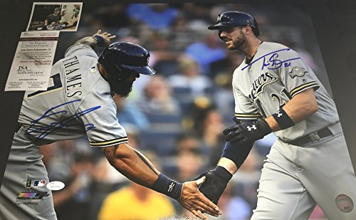 Eric Thames and Travis Shaw Milwaukee Brewers Autographed Signed 16x20 JSA WITNESS COA Travis Shaw