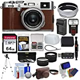 Fujifilm X100F Wi-Fi Digital Camera (Brown) with 64GB Card + Battery & Charger + Leather Case + Tripod + Flash + Diffuser + Tele/Wide Lens Kit For Sale