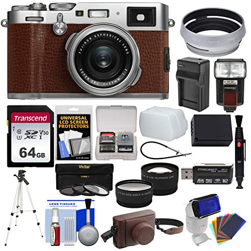 Fujifilm X100F Wi-Fi Digital Camera (Brown) with 64GB Card + Battery & Charger + Leather Case + Tripod + Flash + Diffuser + Tele/Wide Lens Kit Charger Leather Case Lcd