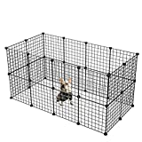 KOUSI Small Pet Pen Bunny Cage Dogs Playpen Indoor Out Door Animal Fence Puppy Guinea Pigs, Dwarf Rabbits (Black, 24 Panels)