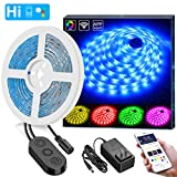 WiFi LED Strip Lights, MIINGER 16.4ft Waterproof Wireless Smart Phone App Controlled Light Strip Kit, Amazon Alexa Google Assistant Control RGB Led Strip Lights Music Sync (Not Support 5G WiFi)