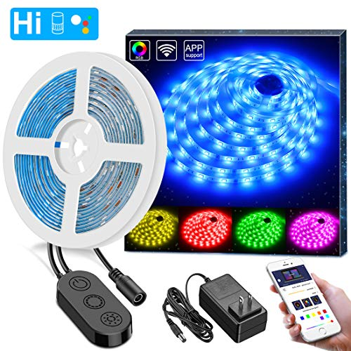 WiFi LED Strip Lights, MINGER 16.4ft Waterproof Wireless Smart Phone App Controlled Light Strip Kit, Amazon Alexa Google Assistant Control RGB Led Strip Lights Music Sync (Not Support 5G WiFi)