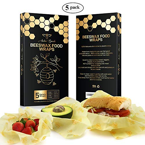 Premium Extra-Large Beeswax Food Wraps (5 pack) - FDA Approved Eco-Friendly Reusable Food Wrap | Zero Waste for Cheese, Vegetables, Bread | Fabric Bowl Covers and Food Storage Wrap by Archev Goods