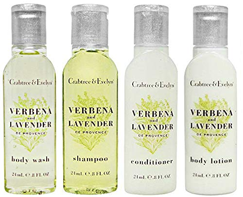 Crabtree & Evelyn Verbena And Lavender Shampoo, Conditioner, Body Wash, Body Lotion Travel Size, 4 Piece Set