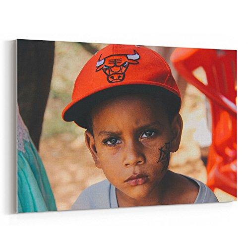 Westlake Art - Kid Streetboy - 5x7 Canvas Print Wall Art - Canvas Stretched Gallery Wrap Modern Picture Photography Artwork - Ready to Hang 5x7 (Great Republic Canvas Cap)