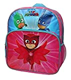 Disney Junior PJ Masks Owlette, Gekko and Catboy 'Save The Day' 14 inch Backpack with Side Mesh Pockets