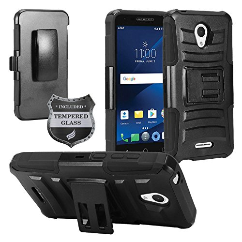 For Alcatel Verso, IdealXcite, CameoX 5044R, Alcatel Raven LTE A574BL, Alcatel U50 5044S - Hybrid Armor Protective Case with Stand/Belt Clip Holster + Tempered Glass - Black