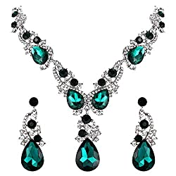 Women's Crystal Multi Teardrop Necklace Earrings Set
