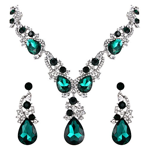 BriLove Wedding Bridal Necklace Earrings Jewelry Set for Women Multi Teardrop Cluster Crystal Statement Necklace Dangle Earrings Set Emerald Color Silver-Tone ()