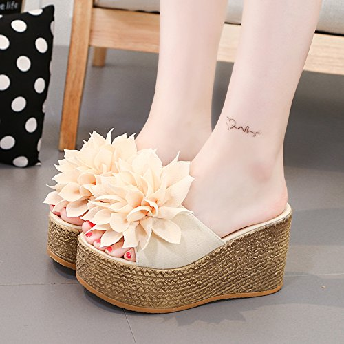 Wear Female Fashion Beach with Slipper High Platform ZHANGJIA Heeled Non Flowers Summer green Drag Sexy Slip HUnfwYxT