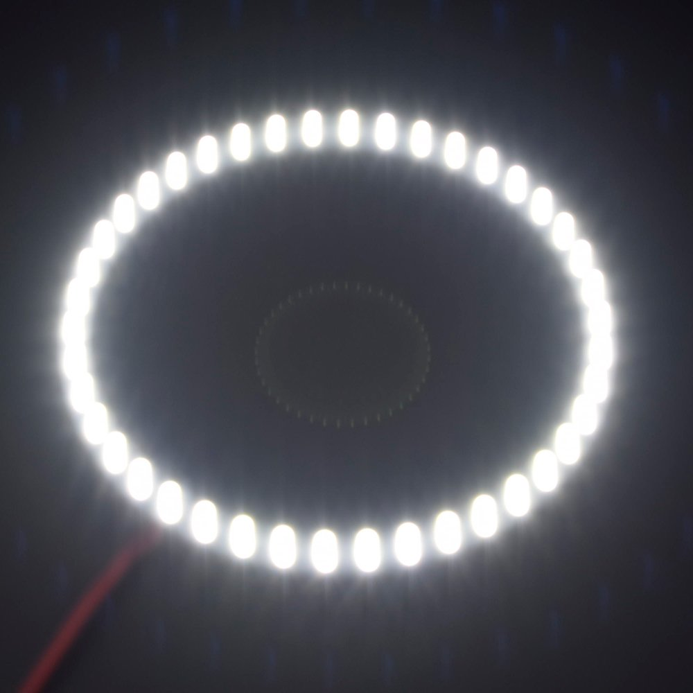 Red 2PCS x Car Led Headlight 90mm 3528 27SMD Angel Eyes Halo Ring Daytime Running Light