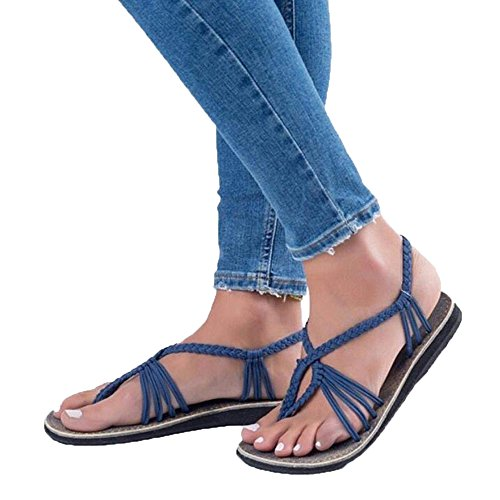 Women Nylon Rope Retro Roman Strappy Sandals Beach Shoes for Ladies Blue