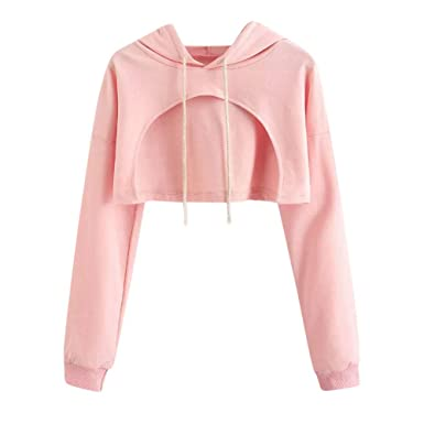 67131f1ca7 Kulywon Women Casual Drop Shoulder Cut Out Crop Hoodie Top Blouse at ...