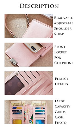 Case Shoulder For Front Purse Wallet Palepink Cluch Crossbody Pocket Bags Leather 2018 Holder Teengirls Women Pouch New Cellphone Card tdqwt7Ex6