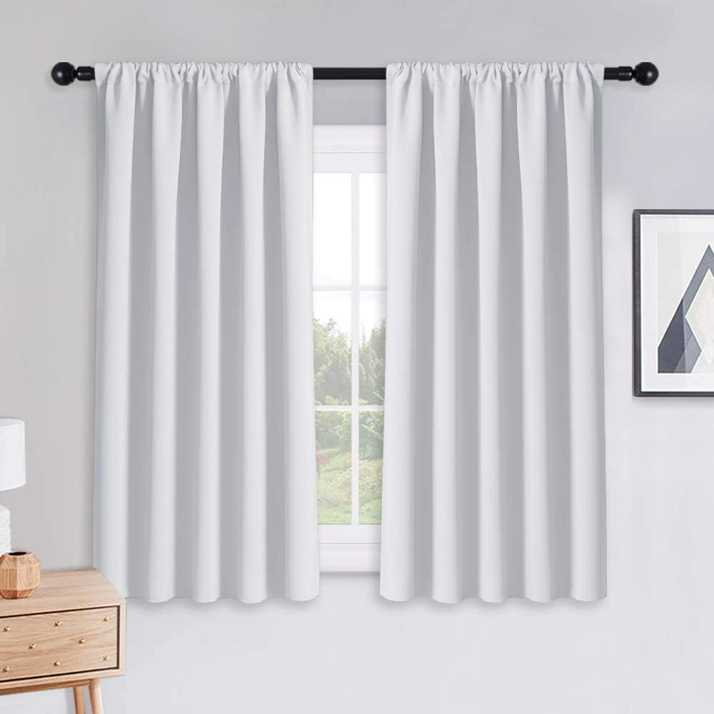PONY DANCE Curtains 45 inch Length - Window Drapes Double Panels Home Decor Rod Pocket Curtain Draperies for Kitchen & Bedroom Privacy Protect Semi-Blackout, 52 by 45 inch, Pure White, 2 Pieces