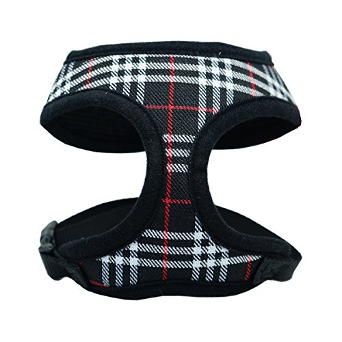 (WONDERPUP Plaid Dog Cat Harness with Comfort Soft Mesh No Pull Durable for Small Puppy Walking Black Large)