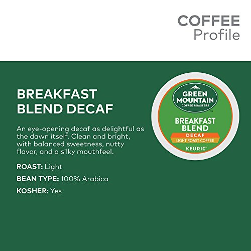 Large Product Image of Green Mountain Coffee Roasters Breakfast Blend Decaf, Single Serve Coffee K-Cup Pod, Light Roast, 72
