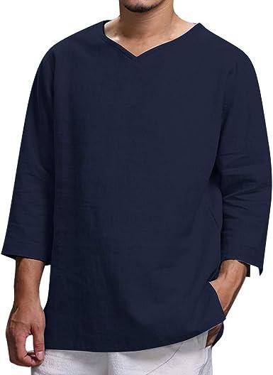 Camiseta Hombre Verano Algodón y Lino Manga Larga Color sólido ...