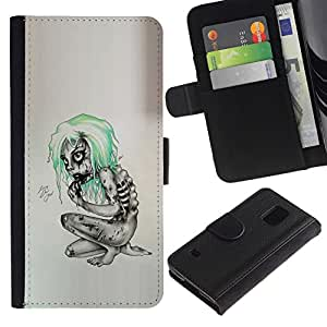 All Phone Most Case / Oferta Especial Cáscara Funda de cuero Monedero Cubierta de proteccion Caso / Wallet Case for Samsung Galaxy S5 V SM-G900 // Goth Emo Zombie