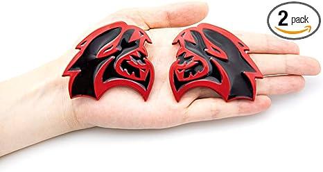 Black CARRUN 2pcs Demon Challenger Metal Emblem 3D Metal Decals Sticker For Auto Car